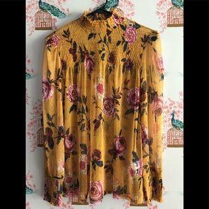 Long sleeve sheer floral blouse